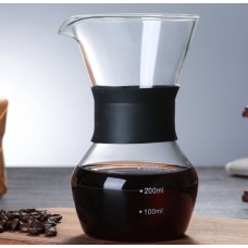 300ml/10oz glass coffee sharing pot with silicon  hand protect sleeve