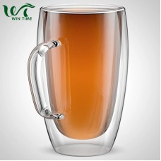 15oz/450ml Double Wall Insulated Glass Coffee Mugs Tea Cups for Espresso Latte