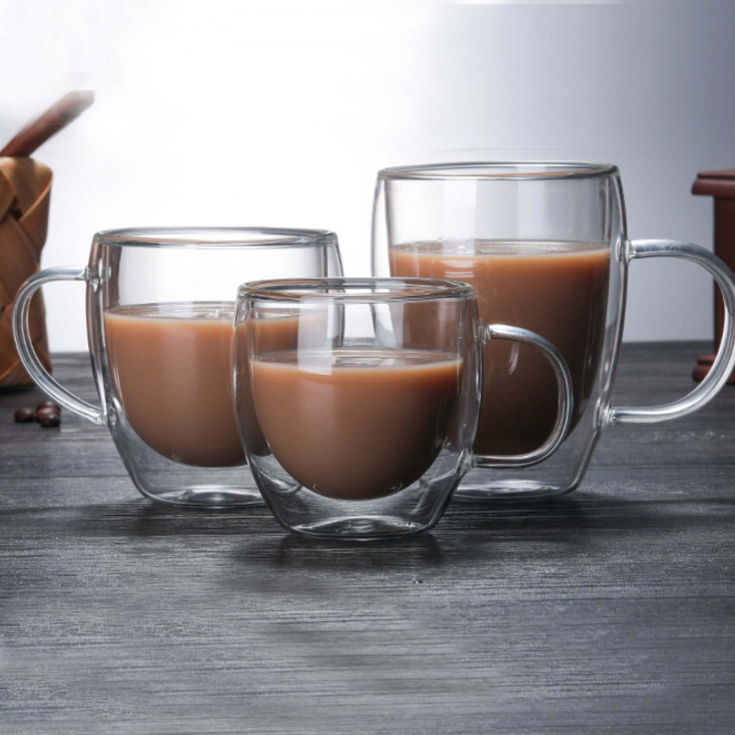 350ml Double Wall borosilicate glass Insulated  Coffee Mugs Tea Cups