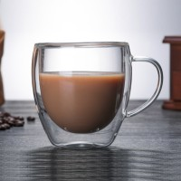 250ML Double Wall Insulated Glass Coffee Mugs Tea Cups for Espresso Latte
