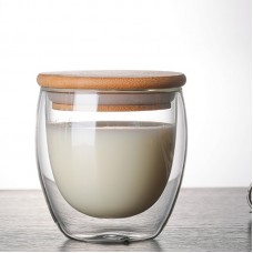 450ml/350ml/250ml High quality doubl wall borosilicate glass tea cup coffee cup with bamboo lid