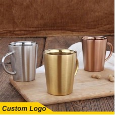 340 ML Stainless Steel 304 Antique Style with Handle Durable Insulated Double Wall Coffee Beer Mug