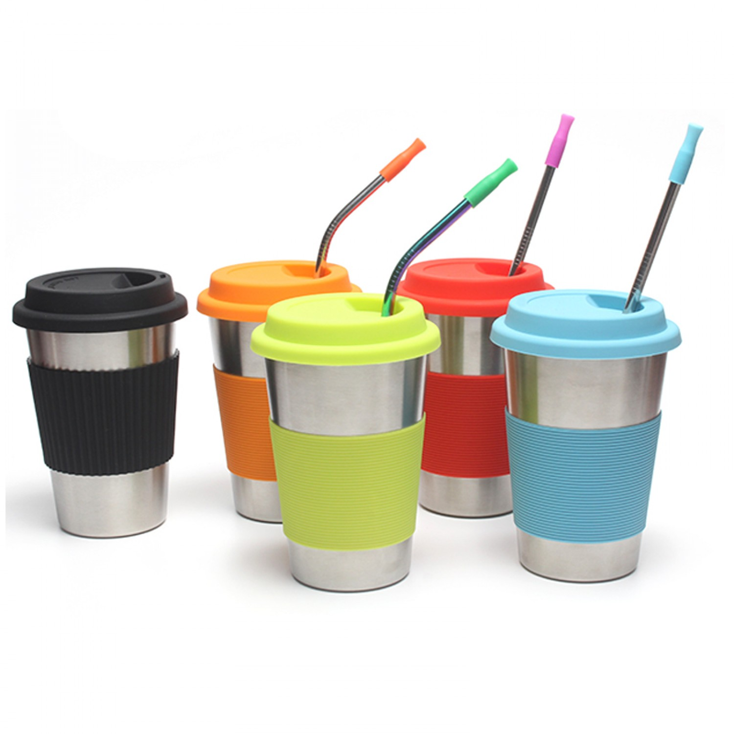 Stainless Steel Cups with Lids and Straws 16oz / 450ml