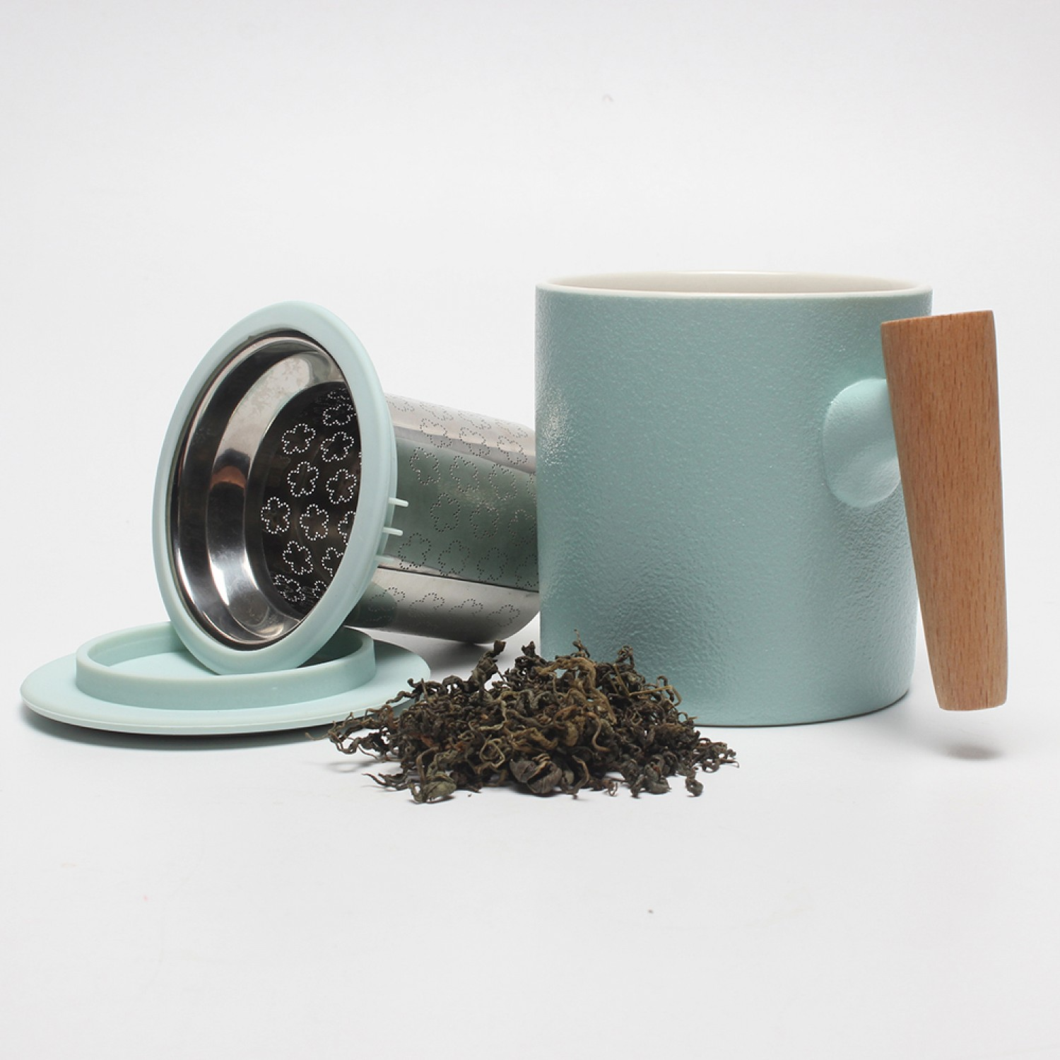 New fashion porcelain mug with tea infuser and special wood handle