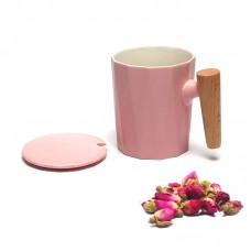 350ML hot sale ceramic tea mug with wood handle in different colors