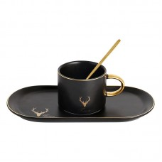 Europe Luxury Style Deer Head Sign with Tray and Spoon Set for Teatime Golden Handle Rim Colored Glazed Ceramic Coffee Mug