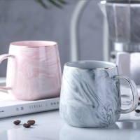 Europe Marble Texture Style Lovers Cup ECO Friendly High Temperature Resistant Type Golden Rim Glazed Ceramic Coffee Mug