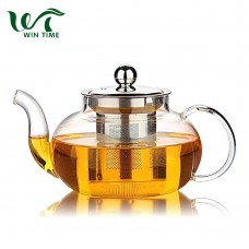 Luxury borosilicate Glass Teapot with Stainless Steel Metal Infuser