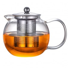 45oz Microwavable and Stovetop Safe Large Glass Teapot Kettle with Removable Tea Strainer