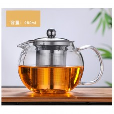 950ML Microwavable and Stovetop Safe Large Glass Teapot Kettle with Removable Tea  Infuser