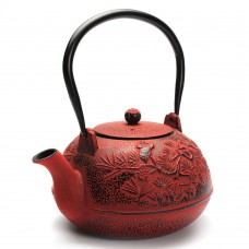 1200ML Crance Pattern Cast Iron Tea Pot