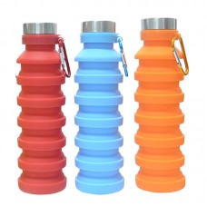 550ml BPA Free FDA Outdoor Sports Travel Gym Camping Hiking Leak Proof Portable Foldable Collapsible Silicone Water Bottle