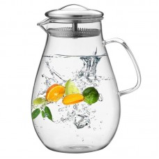 64 Ounces Glass Pitcher with Stainless Steel Lid, Water Carafe with Handle, Good Beverage Pitcher for Homemade Juice and IcedTea