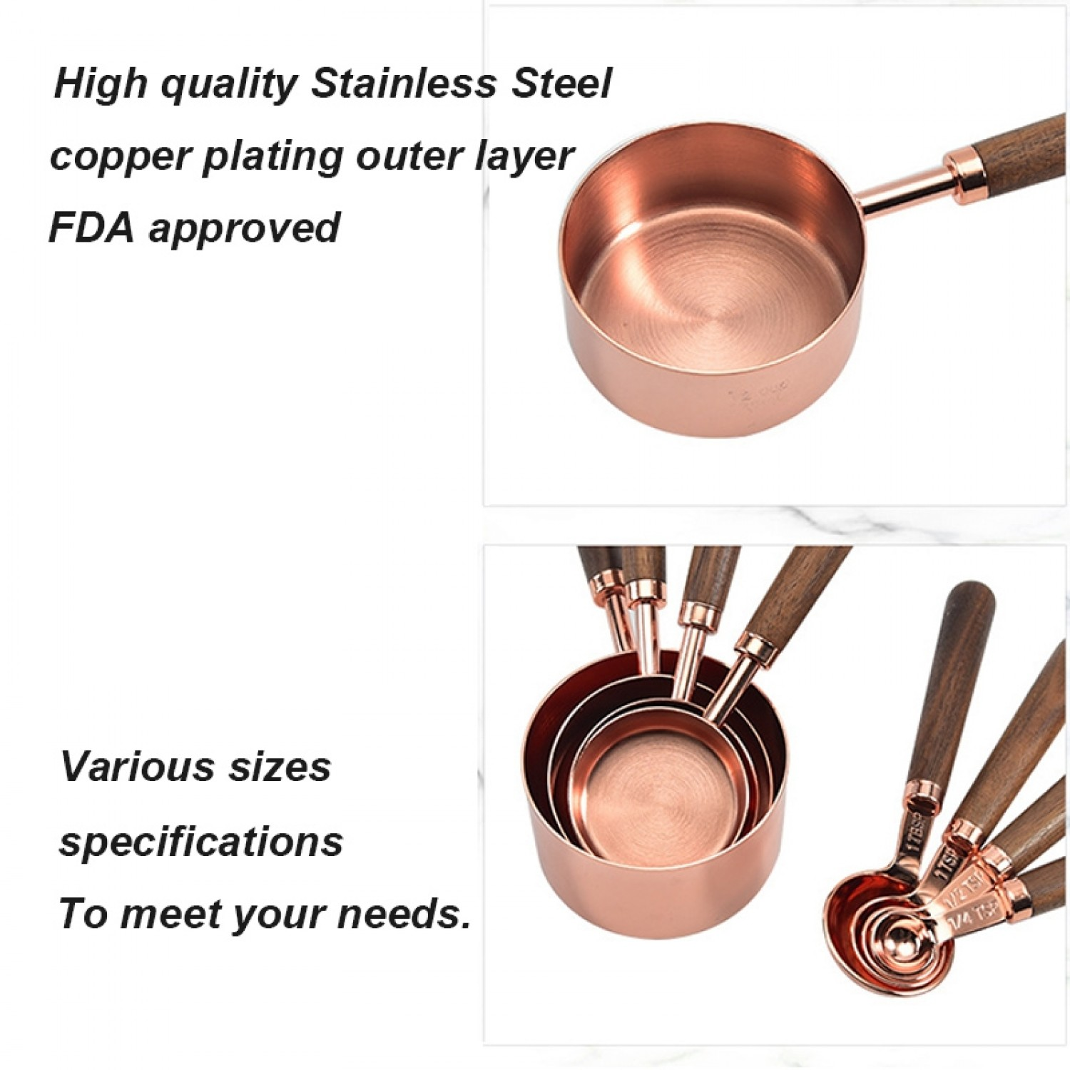 4pcs Kitchen Baking Accessories Wooden Handle Copper plating Stainless Steel Measuring Cups