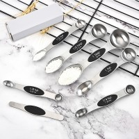 Amazon Hot Sale Kitchen Baking Accessories Magnetic Stainless Steel Double Head Measuring Spoons Set