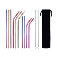 Reusable colored Metal Drinking Straws Set Of 10 Stainless Steel Straws With 2 Cleaning Brush