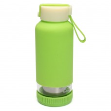 400ML Cute Insulated Glass Big Water Bottle with Tea Infuser and Handle