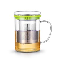 400ML Heat Resistant Glass Tea Cup with Lid and stainless steel strainer