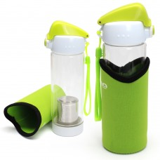 350ML Reusable Glass Large Tea Water Bottle with Sleeve and Lid