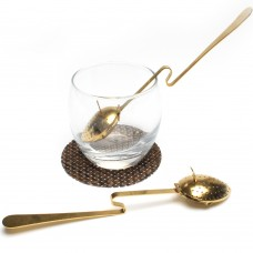 Stainless Steel Leaf  Shape Loose Leaf  Tea Infuser With Cup Rest Handle(Gold-plated)