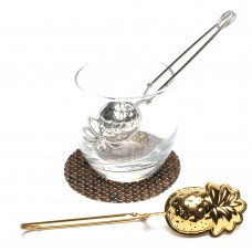 Spring Handle Stainless Steel Pineapple Shape Tea Infuser (Gold-Plating)