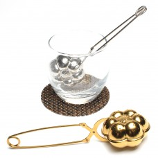 Spring Handle Stainless Steel Flower Shape Tea Infuser (Gold-Plating)