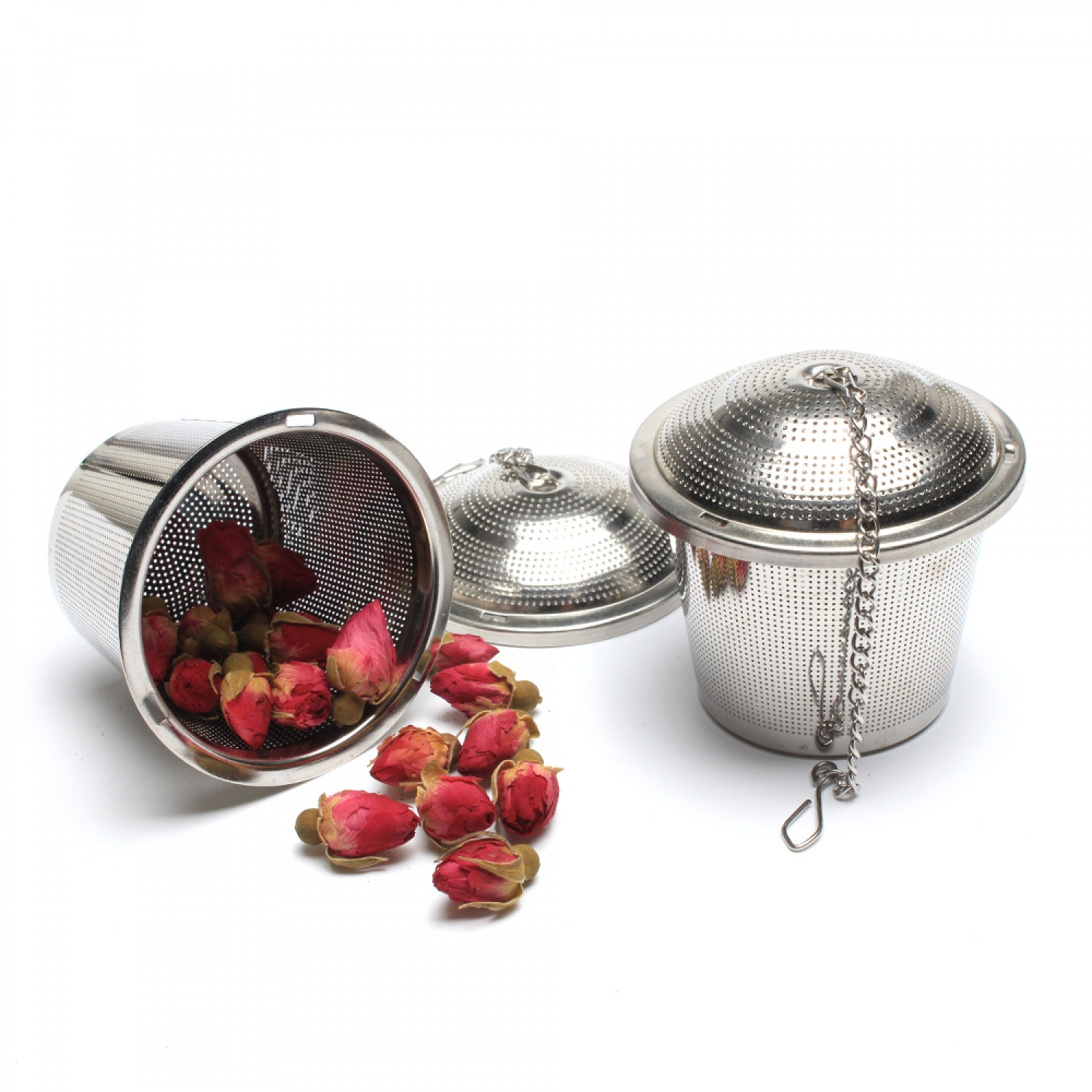 6.5 Stainless Steel Etch Hole Tea Strainer With Chain
