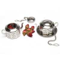 Stainless Steel Tea Pot Tea Infuser With Chain and Tray
