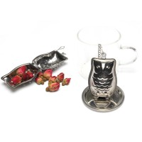 Stainless Steel Owl Tea Infuser With Chain and Tray