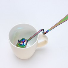 Stainless Steel Leaf  Shape Loose Leaf  Tea Infuser With Cup Rest Handle(Titanium Plating)