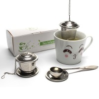 3 in 1 Stainless Steel Fine Mesh Tea Infuser Set with Spoon for Loose Leaf Tea