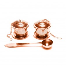 Gold Plated Stainless Steel Tea Strainer Set with Tray and Spoon