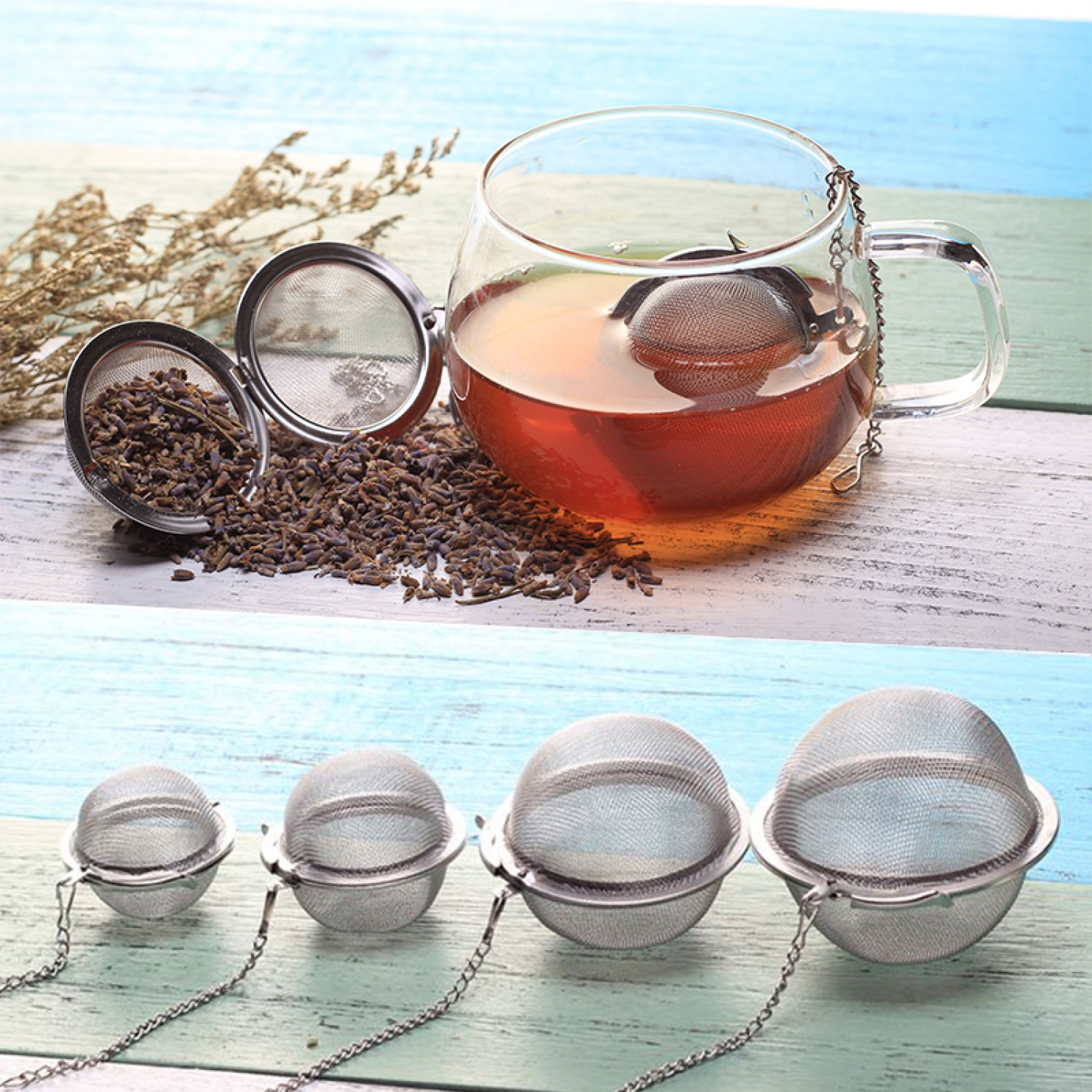 Stainless Steel Mesh Tea Infuser Ball 4.5cm With Chain