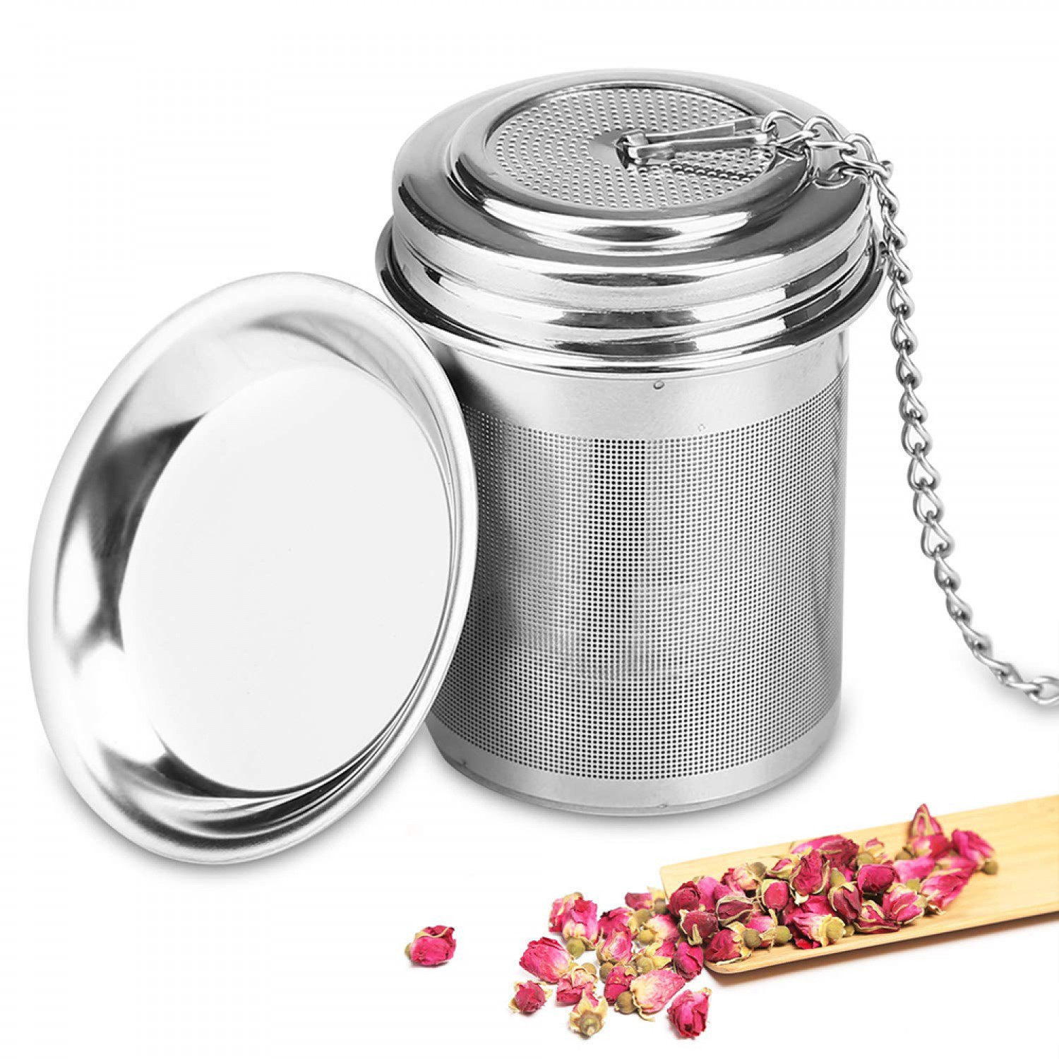 HOT Tea Ball Infuser & Cooking Infuser, Extra Fine Mesh Tea Infuser Threaded Connection 18/8 Stainless Steel with long chain