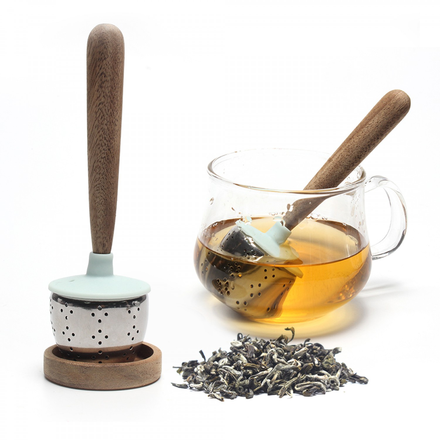 New Arrival Fine Holes Stainless Steel Loose Leaf Tea Infuser with Wooden Handle