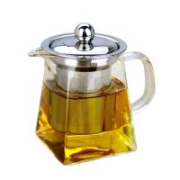 Chinese Commercial Portable White Clear Glass Tea Pot with Infuser Factory Wholesale